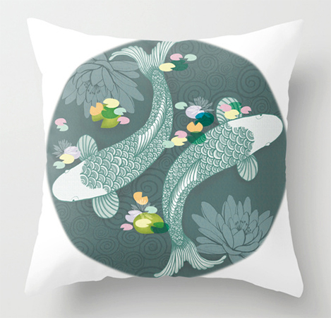 Animals Illustration Koi Carp cushion