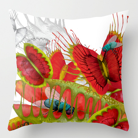 Animals Illustration Venus flytrap cushion