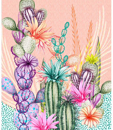 Cacti love illustration
