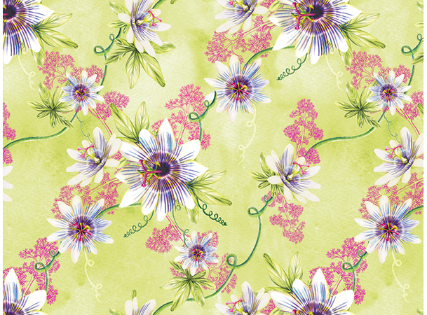 Passionflower And Velerian Pattern