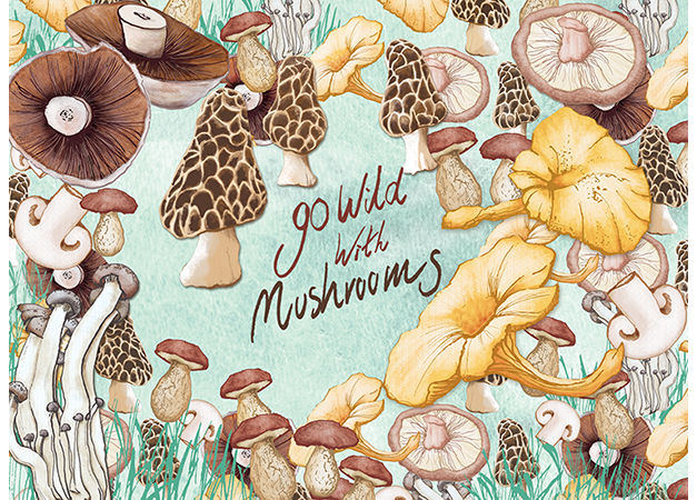 Food Illustration-Wild Mushrooms