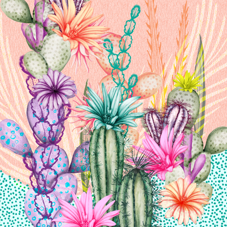 Illustration-Nature cactus pastels