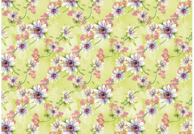 Surface Pattern passionflower and velerian