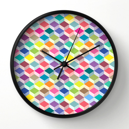 surface Pattern Cubism clock
