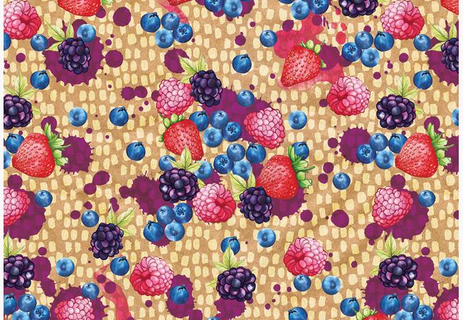 Food Pattern Juicy brightly colored berries