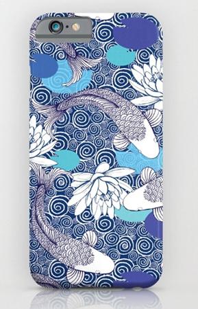 blue and white koi carp pattern