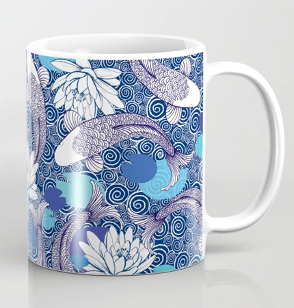 Blue and white Koi carp pattern Ripple mug