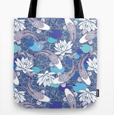 Blue and white Koi Carp Ripple tote pattern tote bag