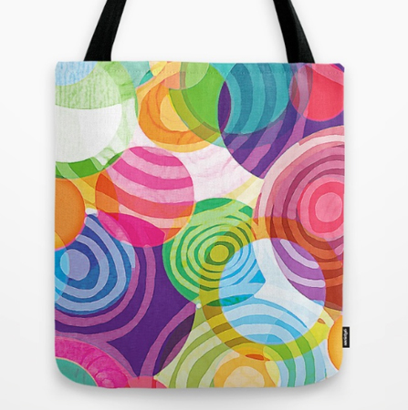 Circle-licious Sweetie tote bag design bright circles pattern