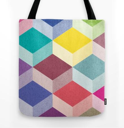 Cubism geometric pattern tote bag