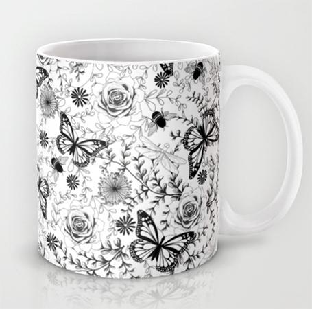 Mug Butterflies and Bees
