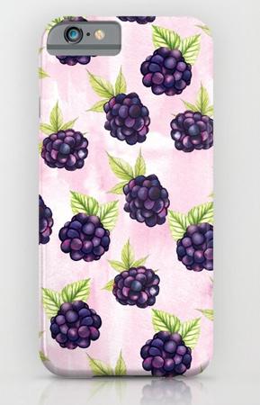 Phone Case Blackberries pattern food pattern fruit pink purple berry