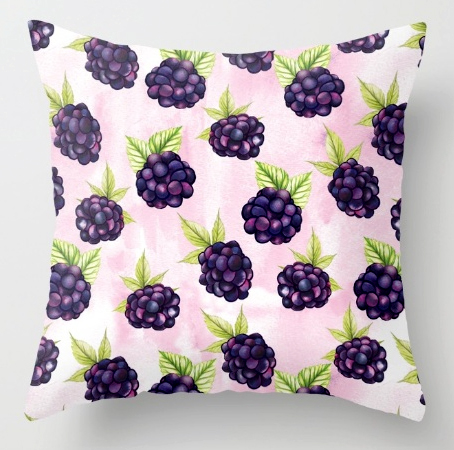 Pillow Blackberries pattern cushion food print fruits
