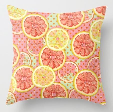 Pillow Blocked Fresh & Fruity tropical pattern print grapefruit candy colours pastel