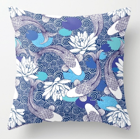 Pillow Blue and white Koi carp Ripple pattern cushion
