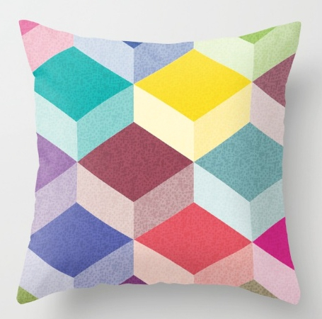 Pillow Cubism geometric pattern