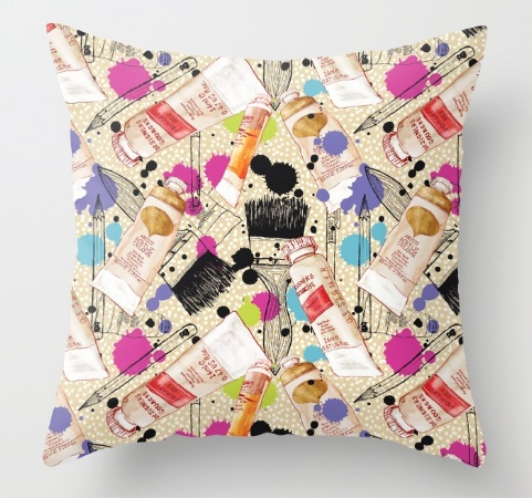 cushion design, paints, artist, painter,colourful, bright pattern, paint