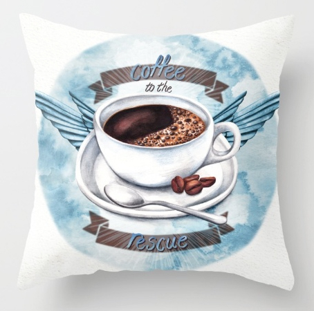 illustration-coffee-to-the-rescue coffee cup saucer coffee beans coffee drinker coffee break