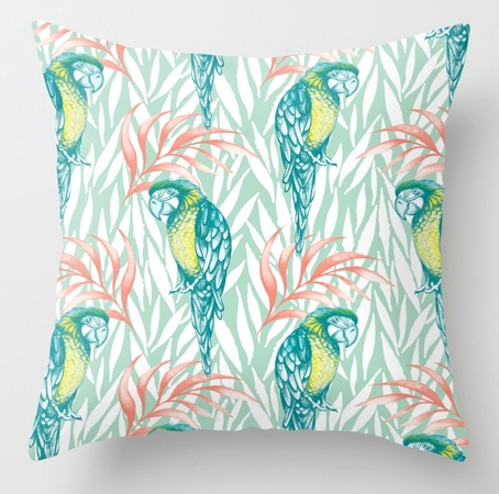 Pillow tropical pastel patternPillow tropical pastel pattern