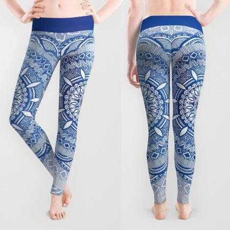 Shop Leggings blue and white mandala pattern yoga leggings