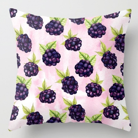 pillow cushion blackberries pattern food prints