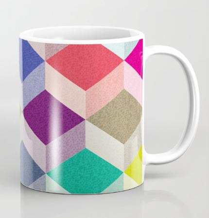 Cubism geometric pattern mug