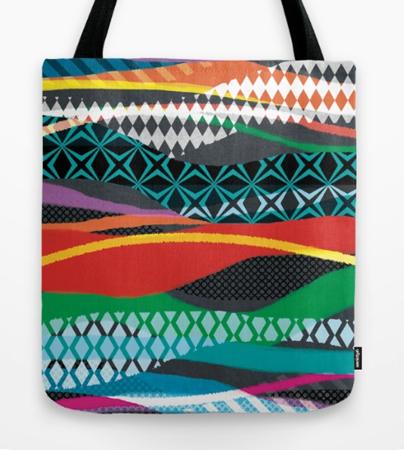 Wave Blaze geometric stripe pattern design tote bag
