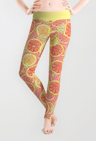 leggings fresh &fruity tropical pattern, tropical print, grapefruit, summer fresh
