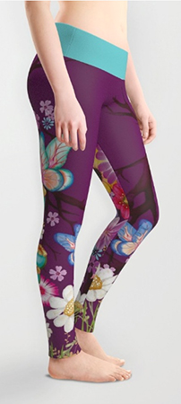 Leggings purple flowers