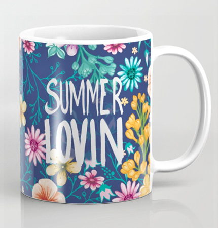 summer loving flowers mug