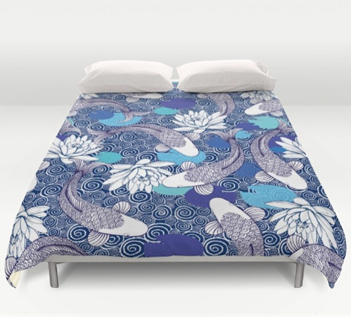 Blue and white Koi carp Ripple Bedding