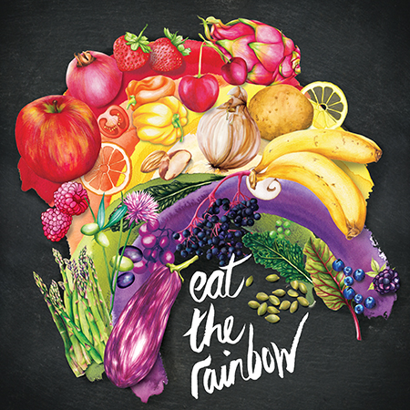 Food illustration healthy living eat the rainbow nutrition