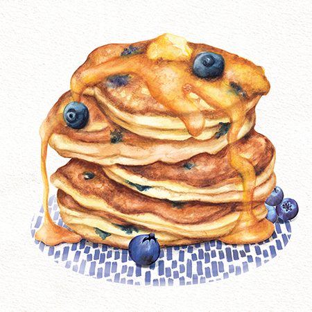 Food Illustration Pancakes with blueberries and maple syrup