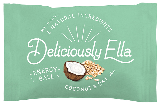Food illustration Deliciously Ella Energy Ball Packaging Coconut and oats