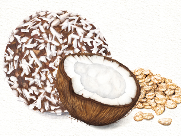 Food illustration Deliciously Ella Energy Ball Packaging Coconut and oats3