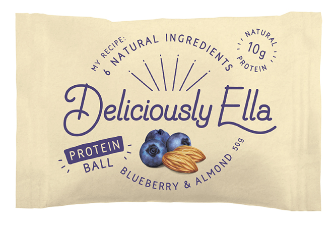 Food illustration Deliciously Ella Energy Ball Packaging blueberry and almond