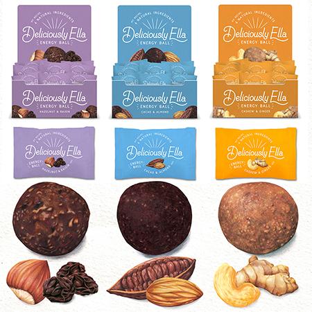 Food illustration Deliciously Ella Energy Ball Packaging