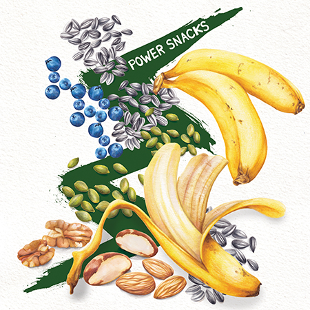 Food illustration Power snacks nuts bananas