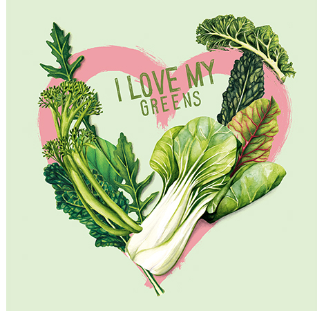 food illustration I love my greens