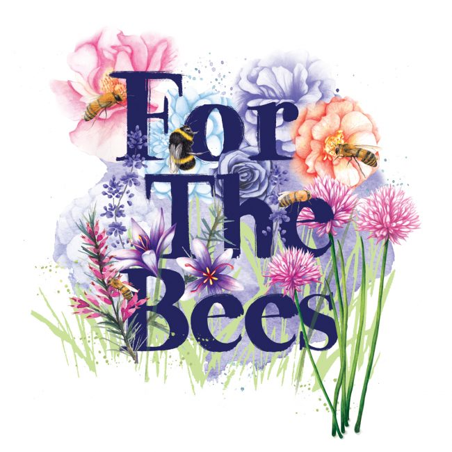 Nature-illustration-save-the-bees. Bee conservation. Wildlife-gardens plant flowers for bees environment eco animal welfare watercolour illustration.