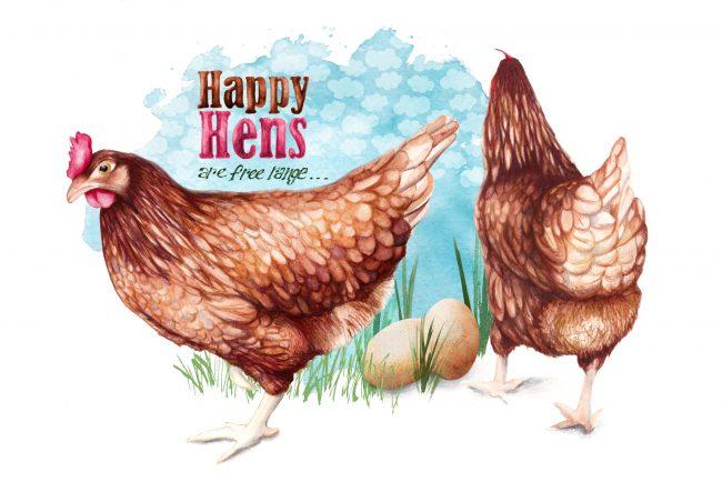 animal-illustration-chickens-free-range-farm-animals-hens animal welfare