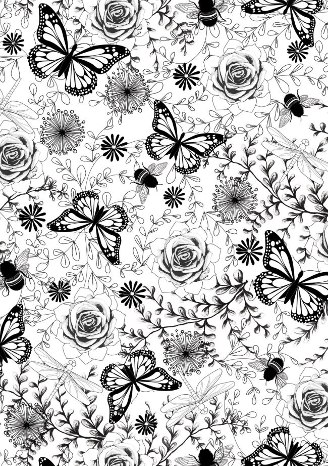 Butterflies-and-bees-black-and-white-pattern