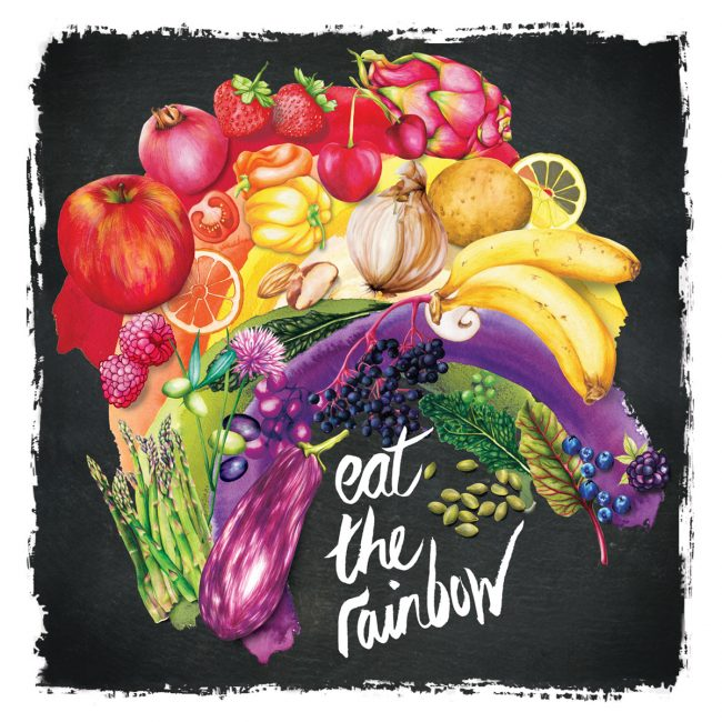 Food-illustration-eat-the-rainbow-healthy-eating-healthy-lifestyle nutrition plant based diet fruit and vegetables food is medicine