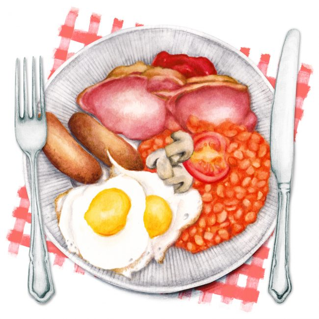 Food-illustration-watercolour-fry-up-breakfast full english