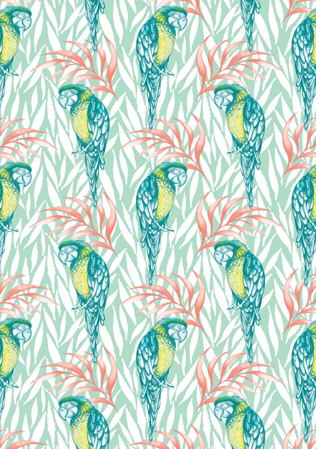 Tropical-pastel-parrots-pattern