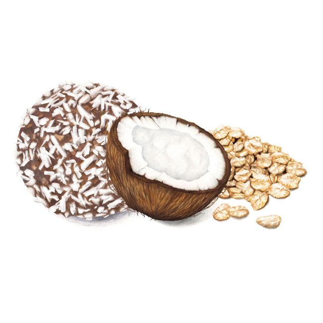 food-illustration-packaging-design-coconut-and-oats-protein-energyball-Deliciously-Ella