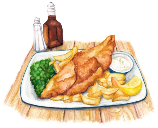Food-illustration-British-favourite-Fish-And-Chips seaside food illustration watercolour