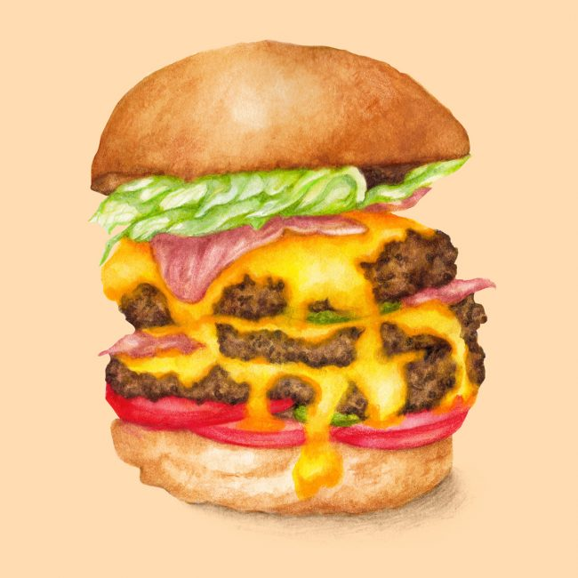 watercolour food-illustration-juicy-cheese-burger comfort food