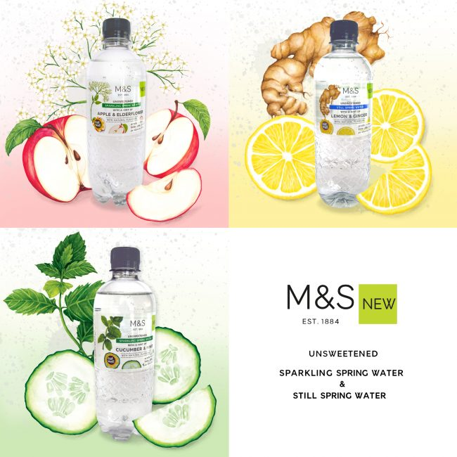 Food-illustration-label-design-waters-for-M&S packaging illustration natural flavours