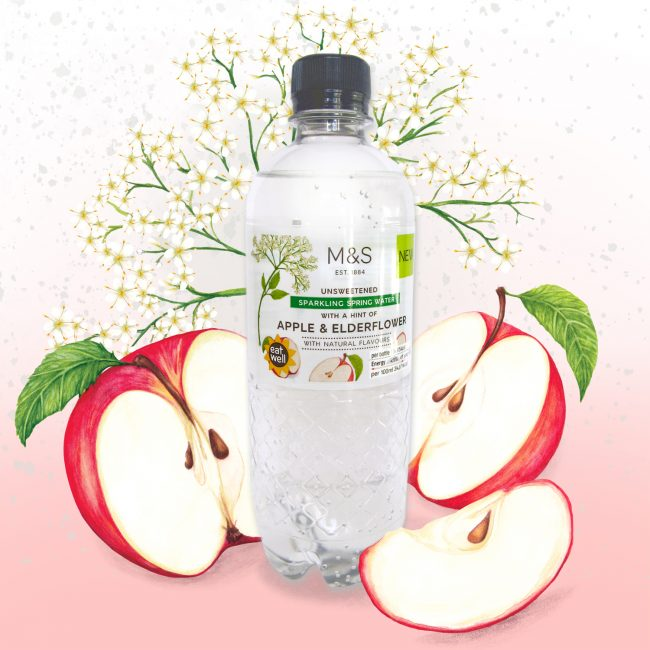 Food-illustration-packaging-design-waters-for-M&S-Apple-and-elderflower